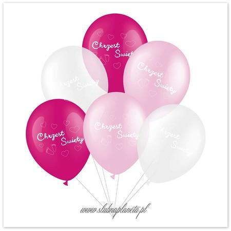 Balony różowe na Chrzest Święty 6 szt. (1)
