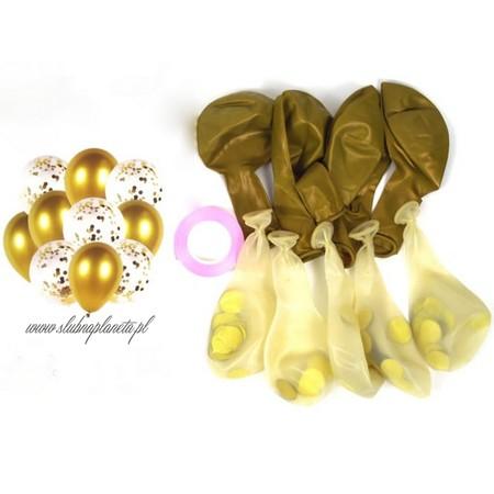 Balony z konfetti ZŁOTE 10 szt. (1)