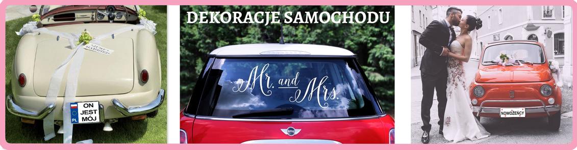 kokardy i zawieszki na klamki samochodu do ślubu
